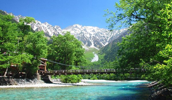 The symbols of Kamikochi Kappa Bridge and Hodaka mountain peak